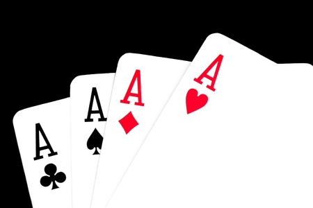4 of a kind: winning poker hand on black background