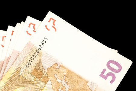 detail of 50 euro banknotes on black background Stock Photo