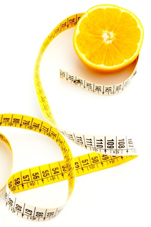 cellulite: top view of fresh orange with measuring Stock Photo
