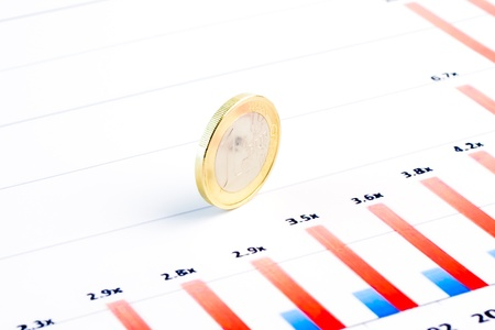 detail of euro coin on financial chart Stock Photo - 12408697