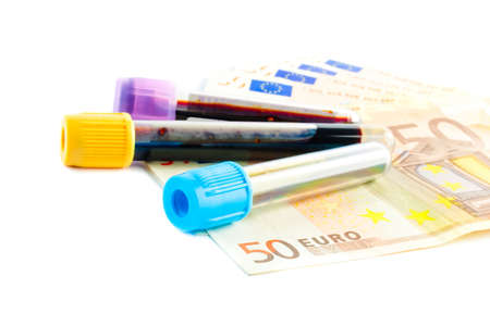 detail of medical tubes on the  50-euro banknotes photo