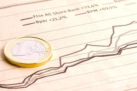 detail of euro coin on business newspaper Stock Photo - 12408727
