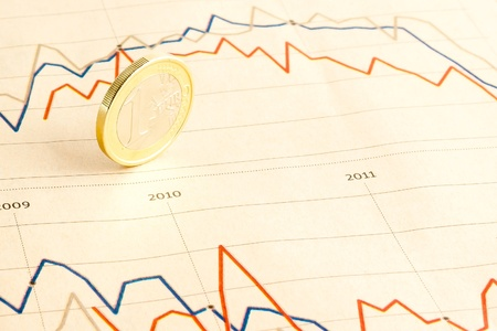 detail of euro coin on financial chart of  business newspaper Stock Photo - 12408729