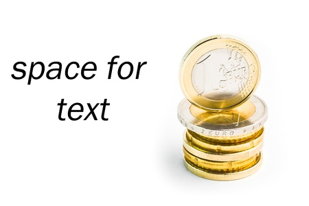 pile of euro on white background with space for text photo