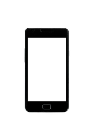 black smartphone with white screen galaxy style and space for the text on white background Stock Photo