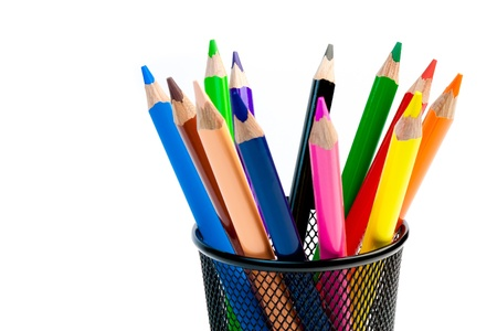 color pencils in the container on white background Stock Photo - 15213970