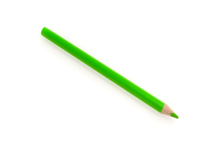 green pencil isolated on the white background