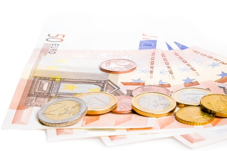 euro coins and banknotes on white background Stock Photo - 17574367