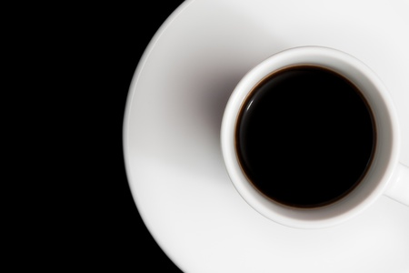 cup of coffee with space for text over the black background photo