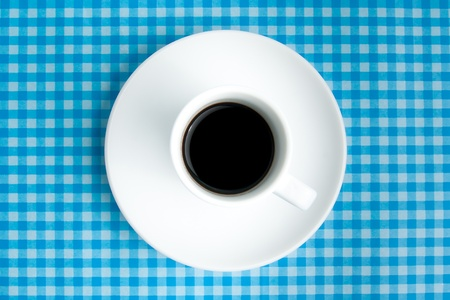breackfast with coffee on table with blue tablecloth photo