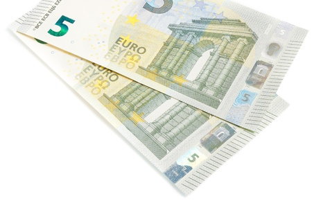 new five euros banknote front side on white background photo