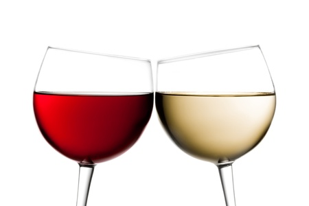 cheers, two glasses of red wine and white wine against white background