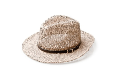 coolie hat: straw hat isolated on a white background Stock Photo