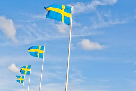 series of swedish flags with cloud and space for text against blue sky photo