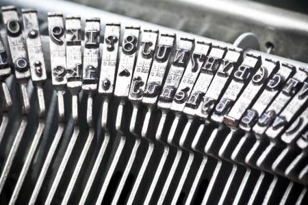 typewriter machine: detail of type bars of typewriter