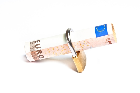 euro banknote with lock security. Money for safety and investment. photo
