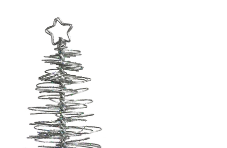 modern christmas baubles: close-up of metallic modern christmas tree on white background with space for text Stock Photo