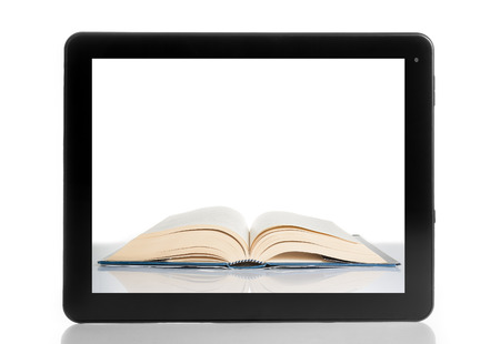 book inside tablet pc isolated on white background, digital library concept photo