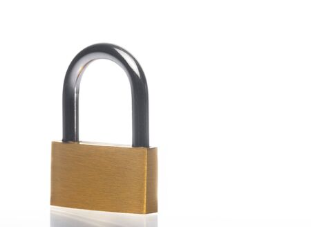 metal padlock on white , with space for text photo