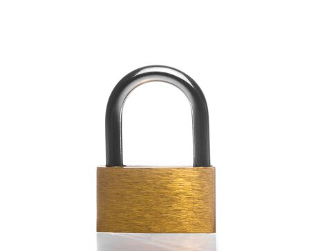 metal padlock on white  photo