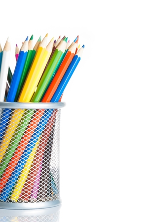 time to school,colorful pencils in container isolated on white background with space for text photo