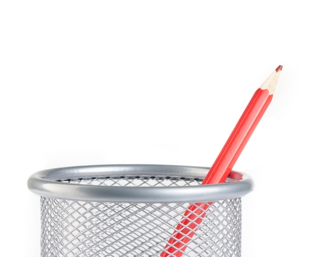 pen holder: time to school,red pencil in container isolated on white background with space for text Stock Photo
