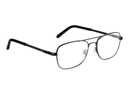 black eye glasses isolated on white background photo