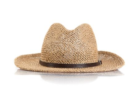 headgear: Summer straw hat isolated on white background
