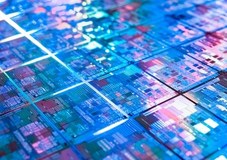 컴퓨터 회로 보드 배경 마이크로 칩 질감, 선택적 포커스