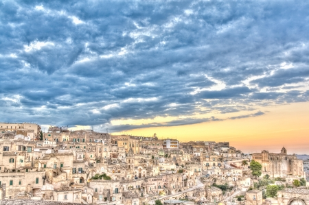 rupestrian: Panoramic view of Matera, Italy. European Capital of Culture 2019 Stock Photo