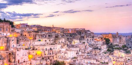 sassi: Panoramic view of Matera, Italy. UNESCO European Capital of Culture 2019