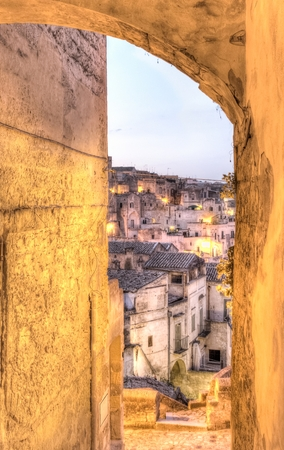 rupestrian: detail of panoramic view of Matera, Italy. UNESCO European Capital of Culture 2019