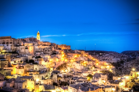 rupestrian: Panoramic view of Matera, Italy. UNESCO European Capital of Culture 2019