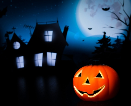 Halloween night background with scary house and bat and pumpkin, halloween party concept Reklamní fotografie