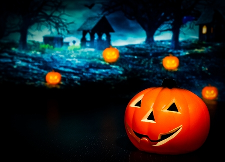 demonic: Halloween night background with scary house and pumpkin, halloween party concept