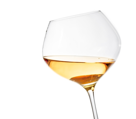 white wine glass isolated with space for text on white background photo