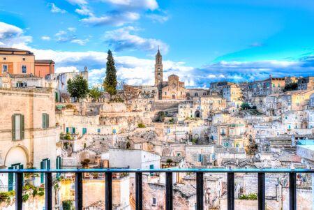 Panoramic view of Matera, Italy.