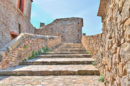 european culture: stones the historic building near Matera in Italy UNESCO European Capital of Culture 2019 details of old stairs