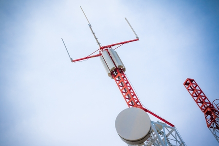 repeater: Mobile phone communication repeater antenna with space for text Stock Photo