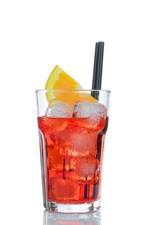 spritz aperitif aperol cocktail with orange slices and ice cubes isolated on white background
