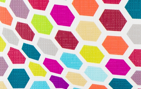 opt: colorful hexagon wallpaper background texture, pop fabric style