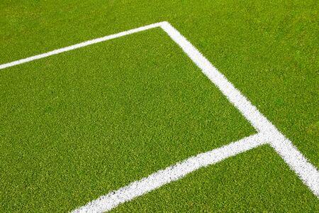 futbol soccer dibujos: campo de fútbol de fútbol vacío verde con la esquina con luz diaria