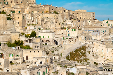 sassi: panoramic view of typical stones (Sassi di Matera) of Matera. Basilicata, Italy Stock Photo
