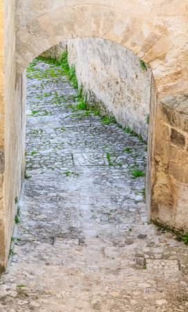 european culture: stairs of stones, the historic building near Matera in Italy  European Capital of Culture 2019, details of old stairs