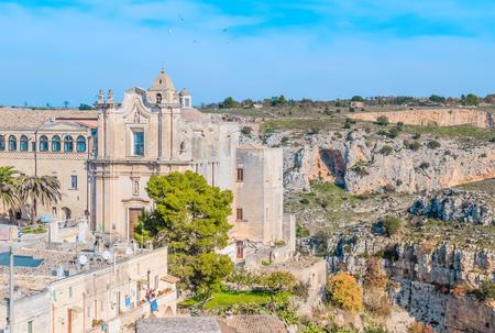 lucania: Church of St. Agostino. Matera in Italy UNESCO European Capital of Culture 2019 under blue sky