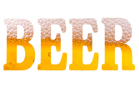 high resolution text with word beer isolated on white background Reklamní fotografie