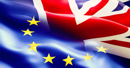 brexit separated half flag of european union and united kingdom, uk england flag, vote for exit concept Standard-Bild