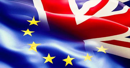 Brexit getrennt halb Flagge der Europäischen Union und dem Vereinigten Königreich, Vereinigtes Königreich England Flagge, Abstimmung für Exit-Konzept Standard-Bild - 57201913