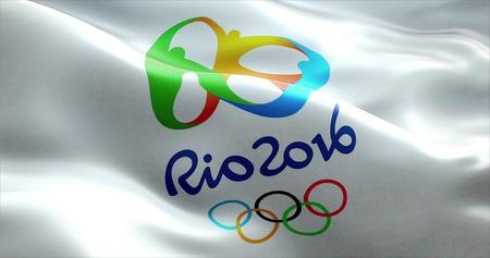 Drapeau avec Jeux Olympiques Rio 2016 ondulant dans le vent Banque d'images - 57140999