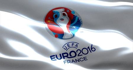 campeonato de futbol: logotipo oficial de la EURO 2016 Campeonato de Europa en Francia, la bandera ondeando en el viento Editorial